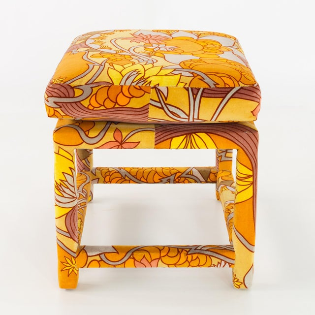 Mid-Century Modern Milo Baughman for Thayer Coggin Mid Century Parsons Ottoman Stool With Jack Lenore Larsen Fabric For Sale - Image 3 of 7