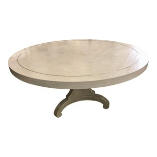 Transitional Heather Gray Round Dining Table For Sale