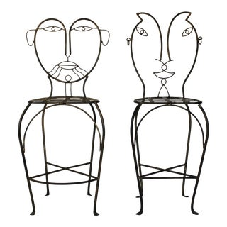 Figural Iron Chairs in the Style of John Risley For Sale