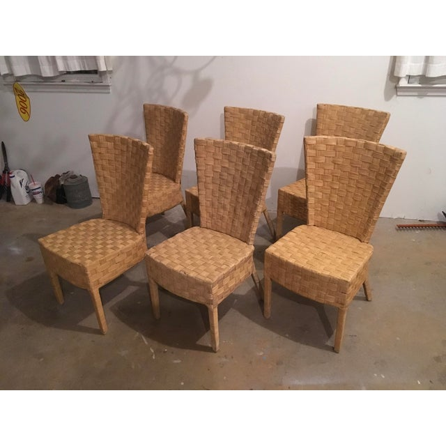 High-Back Wicker Side Chairs - Set of 6 - Image 2 of 5