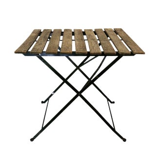 Iron Folding Table With Wooden Slat Top For Sale