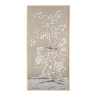 """""""Donnington"""" Chinoiserie Framed Painting on Silk by Simon Paul Scott for Jardins en Fleur For Sale"""