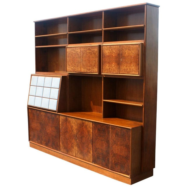 1960s Mid Century Modern Burl Wall Unit Entertainment For Sale In Houston - Image 6 of 10