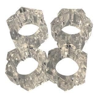 Vintage Hexagonal Lucite Napkin Rings Holders - Set of 4 For Sale