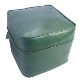 Naugahyde Retro Green Ottoman For Sale