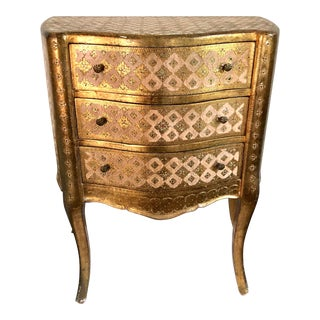 Florentine Italian Gilded Gold Leaf Chest of Drawers For Sale