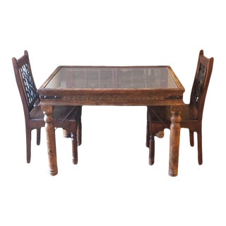 Asian Shutter Wood Table and Chair Set For Sale