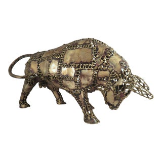 1970s Brutalist Torched Brass Bull Sculpture For Sale