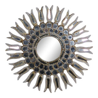 Italian Gilt Wood Sunburst Mirror For Sale