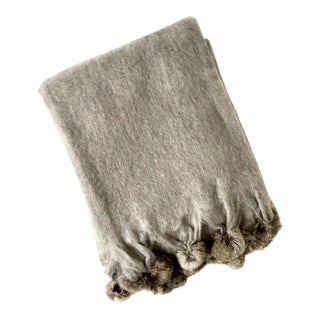 Rabbit Fur Trim Gray Mohair Throw Blanket