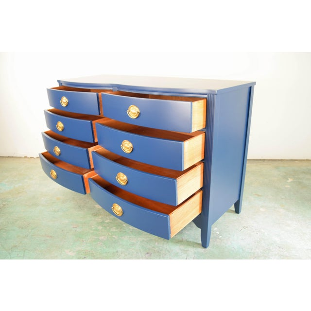 19th Century Boho Chic Bassett Navy Blue Lacquer and Gold Dresser For Sale - Image 10 of 11