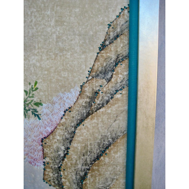 Paper 19th Century Chinese Hand Painted Wallpaper Panel, Framed For Sale - Image 7 of 13