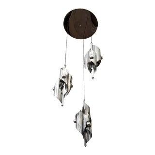 1960s French Chrome Sculptural Nine Light Pendant For Sale