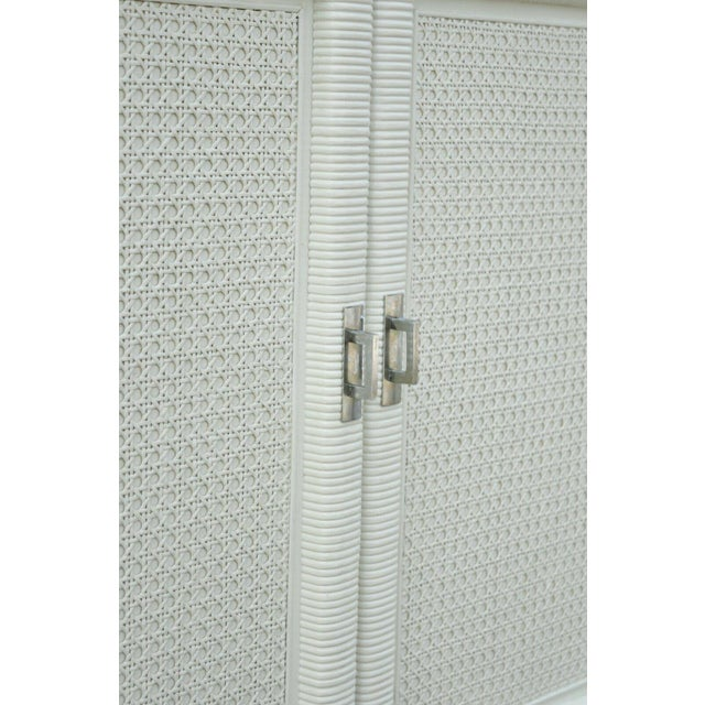 Vintage Dixie Cane Rattan Campaign Style White Tall Chest Armoire Dresser Cabinet For Sale - Image 12 of 13