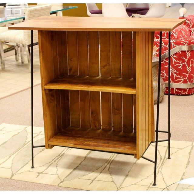 Mid Century Modern Arthur Umanoff for Raymor Iron & Wood Slat Standing Bar 1950s For Sale - Image 12 of 13