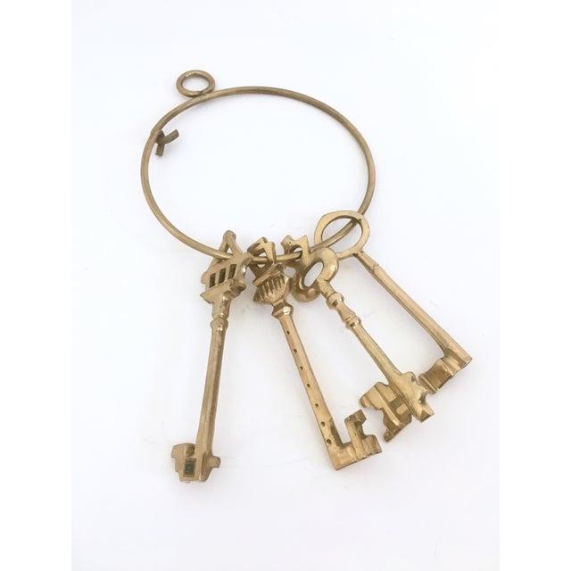Large Brass Skeleton Keys on Brass Ring - Image 5 of 5