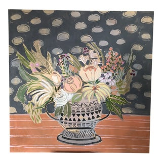 Rare Find Large Floral/Botanical Original Painting by Lulie Wallace Acrylic on Wood Panel