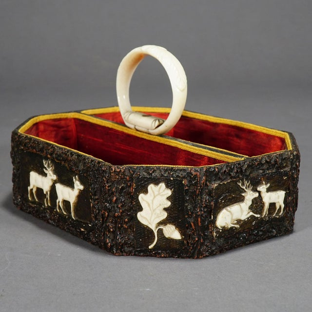 Antique Black Forest Basket With Carved Horn Plaques, Ca. 1860 For Sale - Image 12 of 12