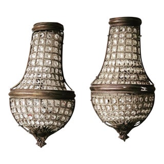 Austrian Crystal and Brass Wall Scones For Sale