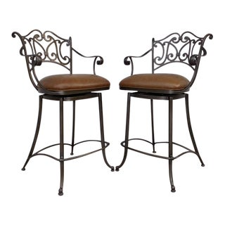 Pair of Ethan Allen Gaston Iron Bar Stools Collector's Classics For Sale