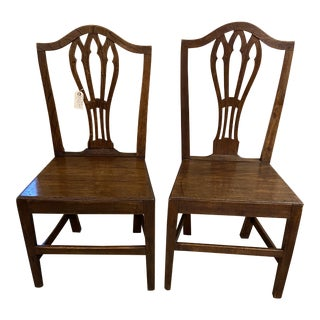 18th Century English Oak Country Chairs - a Pair For Sale