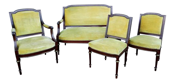French Antique Napoleon Empire Parlor Set   Armchair Side Chairs And Canape  Settee   4 Pcs.