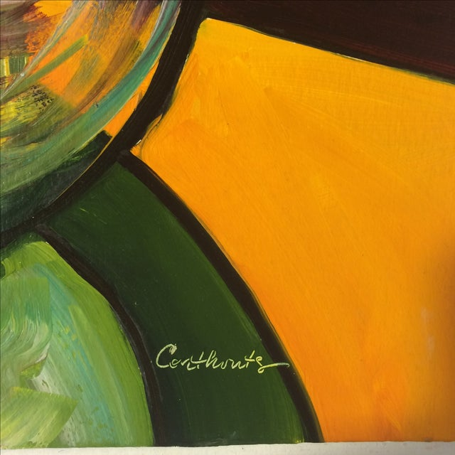 """P. Corthouts """"Callas in Burgundy"""" Acrylic Painting - Image 6 of 9"""