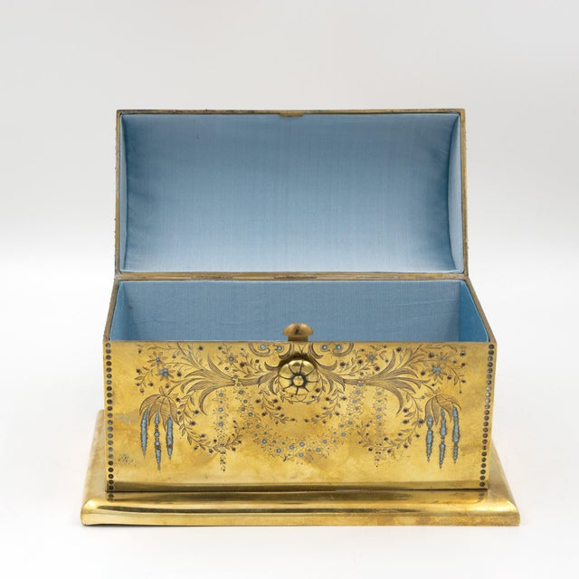 Rare Solid Brass Stationery Box Inlaid With Turquoise and Garnets, France, Circa 1860. For Sale In San Francisco - Image 6 of 11