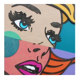 """Mitch McGee """"Fragments II"""" Pop Art Figurative Dimensional Female Birch Wood Painting For Sale"""