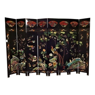 Asain Wooden Painted Screen With 8 Panels For Sale