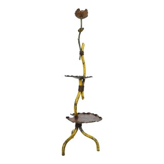1930s Art Deco Regency Graceful Budding Flower Tripod Floor Lamp in Antique Bronze For Sale
