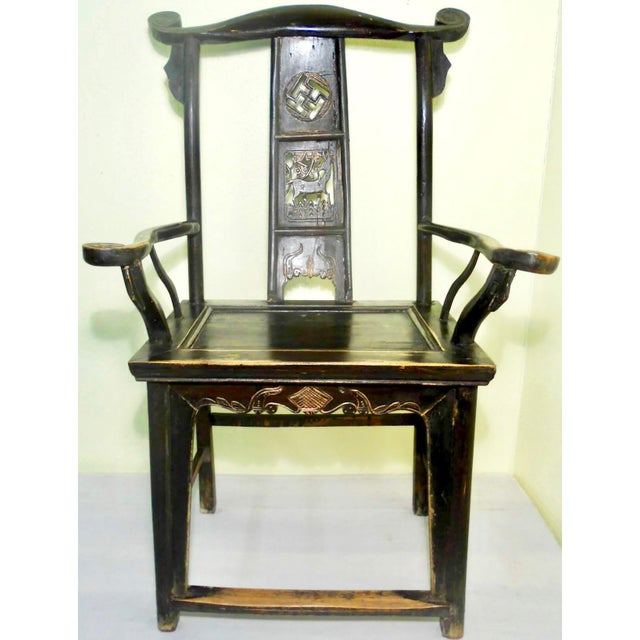 Asian Antique Chinese High Back Arm Chair For Sale - Image 3 of 8
