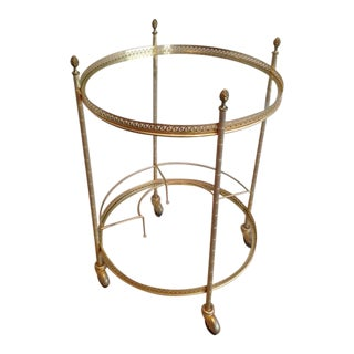 Mid Century Brass Round Rolling Serving Table With Acorn Finials & Bottle Rack For Sale