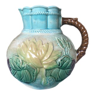 """Antique 1870s English Majolica Samuel Lear """"Pond Lily and Rope Pattern"""" Pitcher For Sale"""