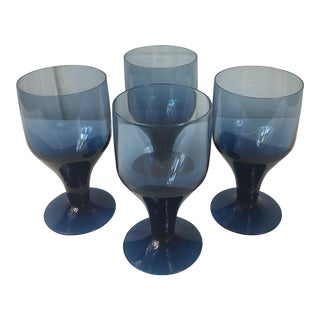 1960s Periwinkle Blue Wine Goblets - Set of 4 For Sale