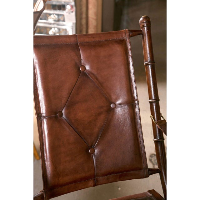 Boho Chic Leather Bamboo-Style Folding Chair - 20 Available For Sale - Image 3 of 9