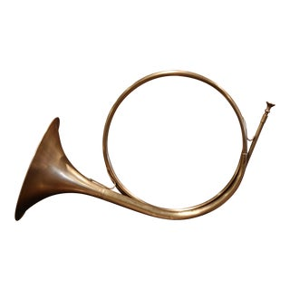 "Early 20th Century French Brass ""Cor De Chasse"" Hunting Horn For Sale"