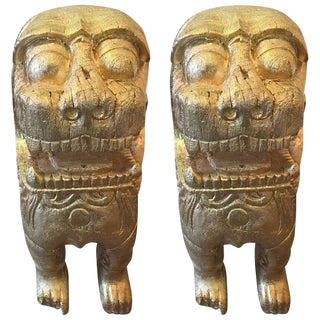 Two Carved Wood Asian Guardian Foo Lions For Sale
