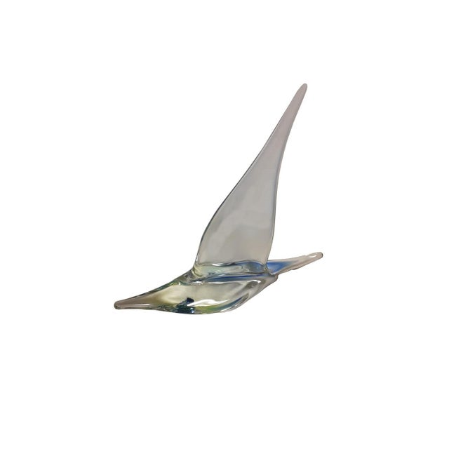 Beautiful sparkling vintage Murano style clear glass boat. Hand blown, probably Murano, original sticker on sail, made for...