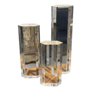 Set of 3 French Modern Lucite Sculptures For Sale