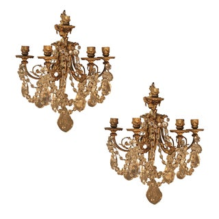 Antique French Bronze & Crystal Sconces - a Pair For Sale