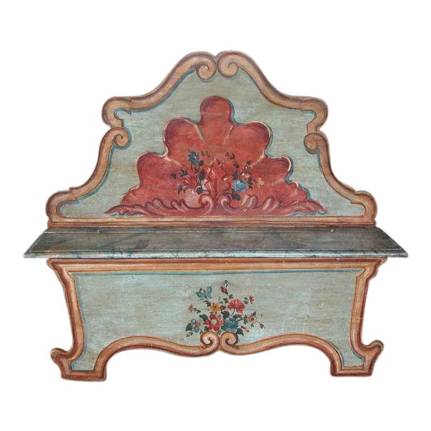 A Fanciful Venetian Baroque Style Pine Polychromed Highback Bench For Sale