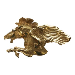1986 Vintage Christopher Ross Flying Horse Belt Buckle For Sale