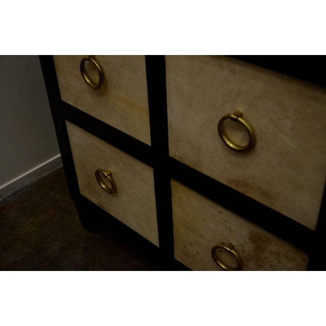 A Pair of French Moderne style Ebonized Wood and Vellum Bedside Cabinets - Image 6 of 7