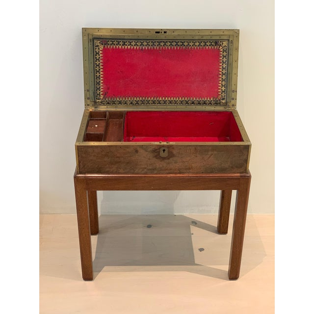 Antique Wooden Box on Custom-Made Stand For Sale - Image 9 of 13