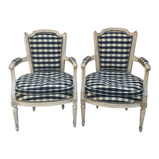 French Louis Silk and Down Armchairs - a Pair