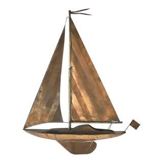 A Copper Sailing Boat Wall Sculpture 1960s For Sale