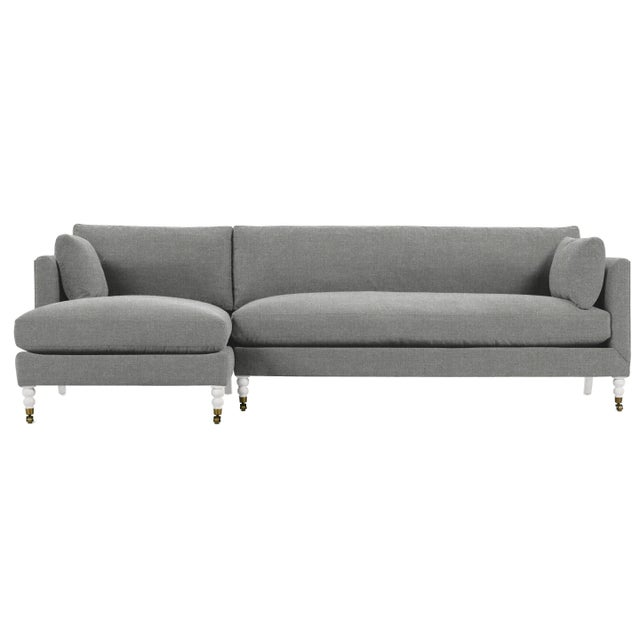 Greta Sectional, Grey Flannel, Ivory Legs, Set of 2 For Sale - Image 6 of 6