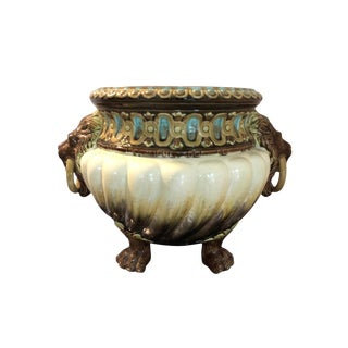 Art Nouveau Jardiniere With Lion Heads by Julius Dressler, Early 1900s For Sale