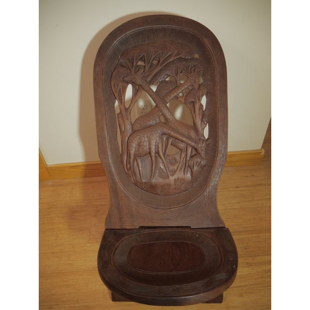 Mahogany 20th Century African Bantu Tribe Carved Two-Board Tribal Chief Chairs - a Pair For Sale - Image 7 of 8